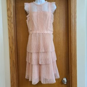 Heartloom Pink Ruffled Lace Tiered Dress M